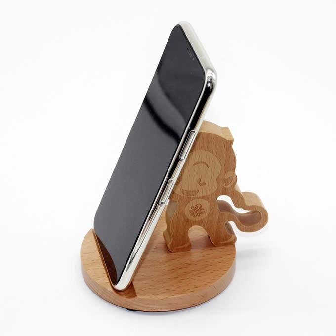 Wooden Cute Monkey Phone Holder