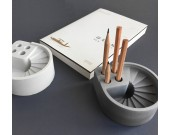 Industrial Style Concrete Office Pen Holder With Stairs