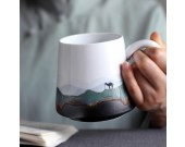 Pastoral Mountain Water Art Coffee Cup Milk Mug