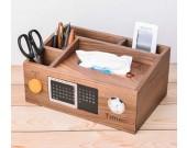 Bamboo Wood Multi-Function Desktop Tissue Box Cover Perpetual calendar Remote Control Holder Storage Box
