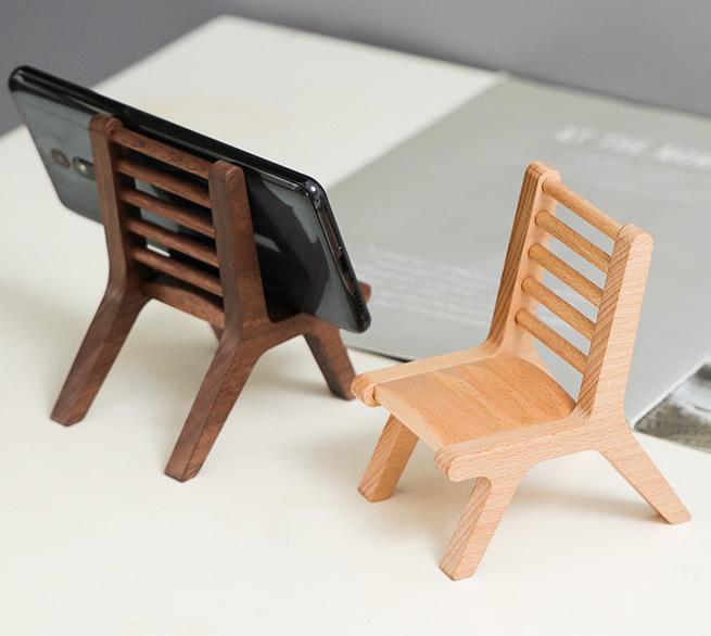 Classic Handmade Wooden Chair Phone Holder Beech Black Walnut