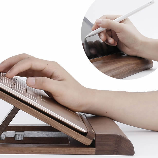 Multi-Angle Folding Wooden Tablet Computer Stand IPAD Painting Stand Storage Holder