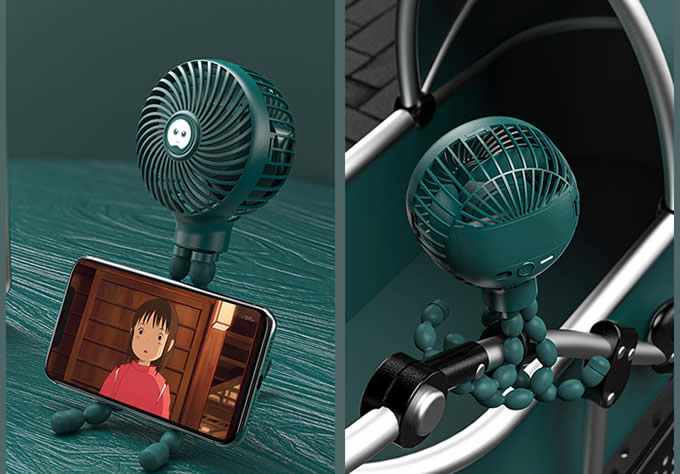 Creative Can Be Fixed At Will Green Octopus Fan Carry Small Fan Outdoors