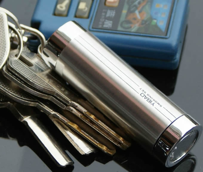 Cylinder Portable Pocket Ashtray  with Keychain