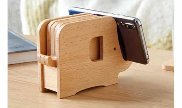 Creative Wooden Elephant Cup Coaster Wood Kitchen Potholder Phone Holder
