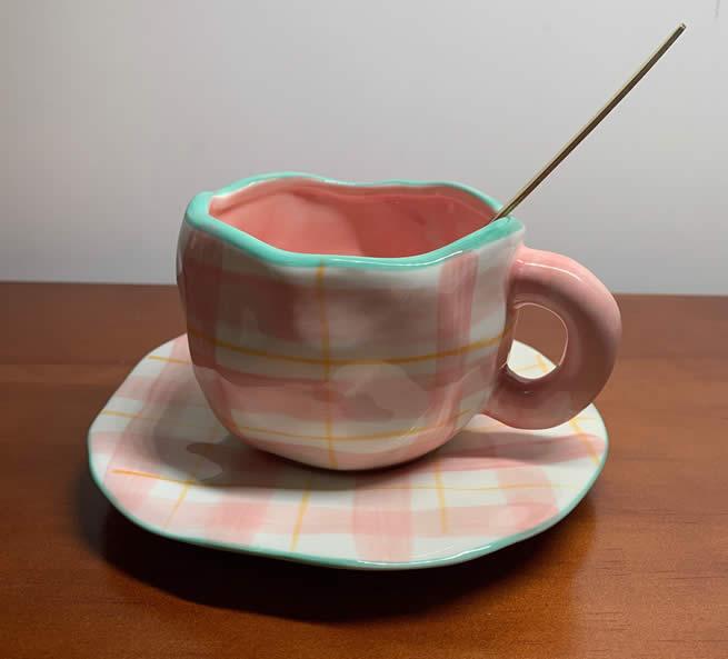 Exquisite Irregular Geometric Art Ceramic Pink&Blue Coffee Cup