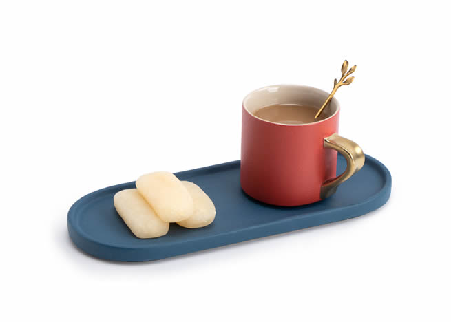 Fashion Two-color Couple Ceramic Coffee Cup With Tray