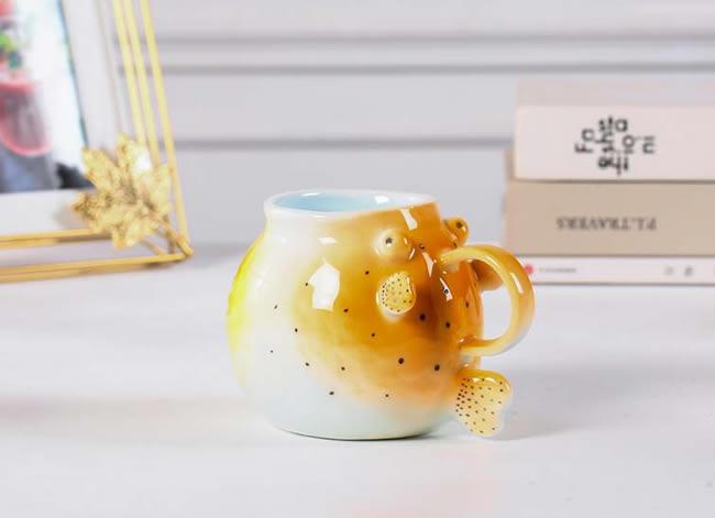 Creative Cartoon Puffer Fish Ceramic Mug