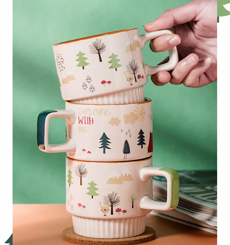 Abstract Cartoon Pattern Ceramic Milk Mug Coffee Cup