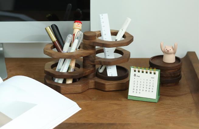 Classic Rotating Black Walnut Wooden Pen Holder Office Organize