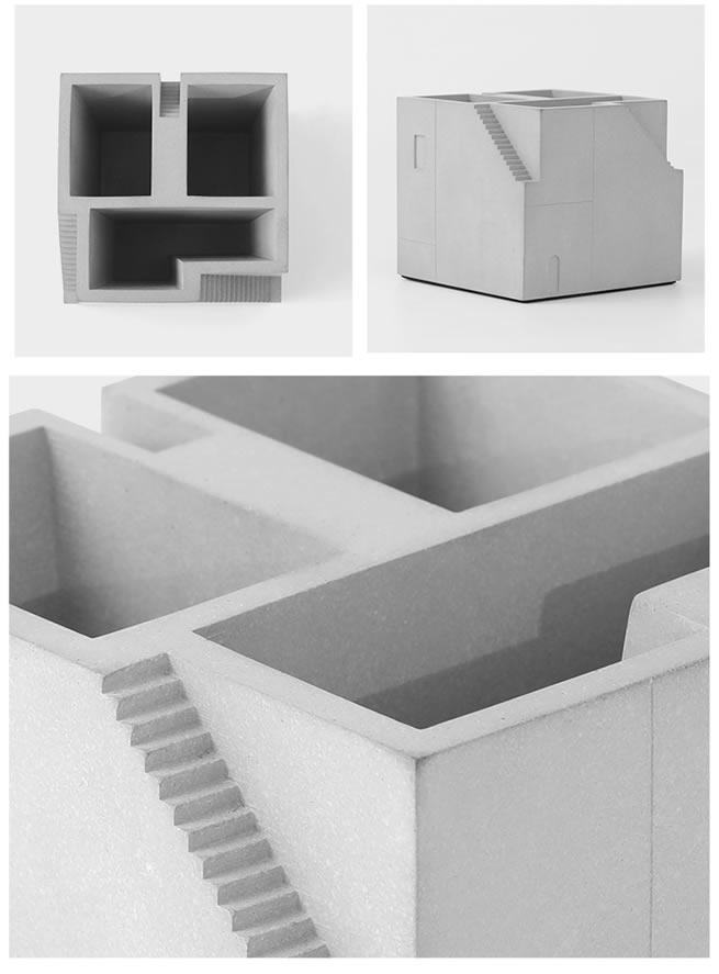 Classic Concrete Building Desktop Organizer Pen Holder
