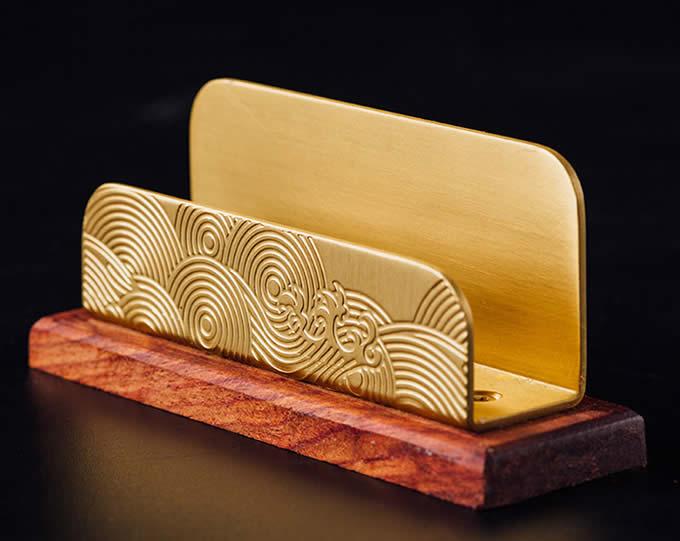 Classical Golden Brass Redwood Combination Office Business Card Holder