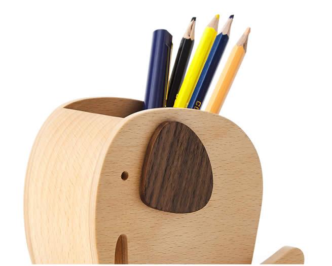 Wooden Elephant Office Organize Storage Pen Holder