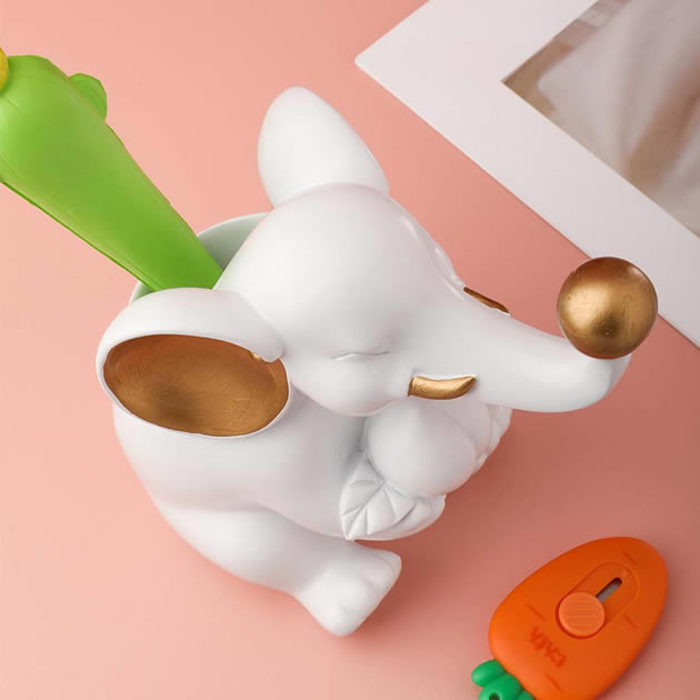 Cute White Elephant Desktop Organizer Pen Holder