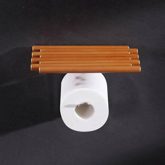 Wooden Roll Paper Holder Storage For Bathroom