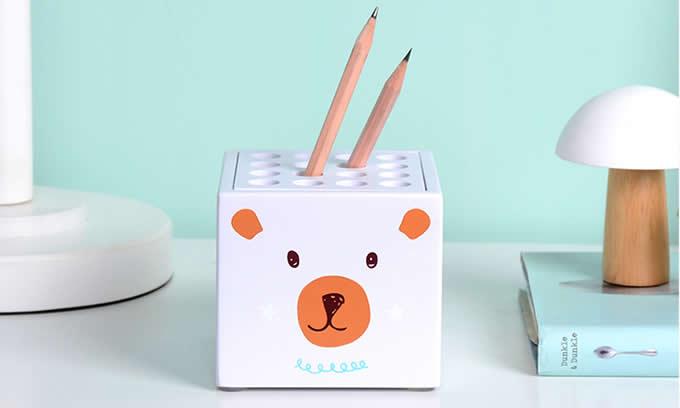 Cartoon Bear & Kitten Face  Pen Display Stand 16-Slots Pen Pencil Holder
