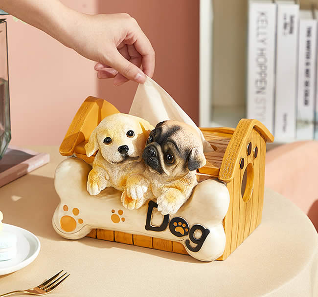 Cute Small Dog House Living Room Decoration Tissue Box