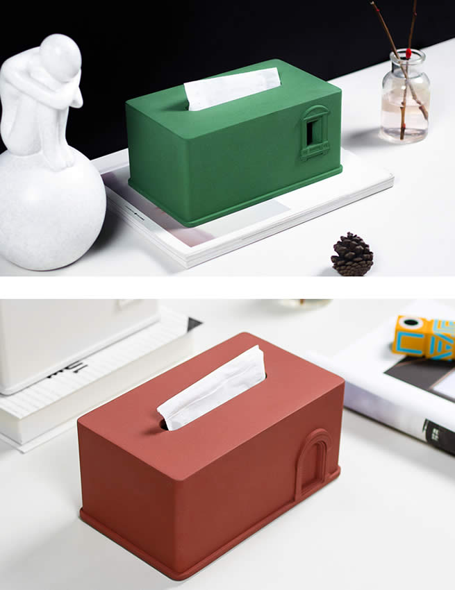 Industrial Style Art Concrete House Model Tissue Box