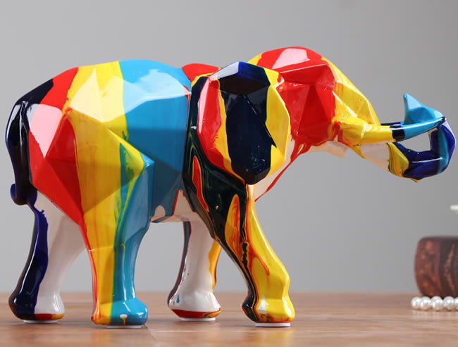 Abstract Modern Art Color Painting Elephant Decoration Sculpture Ornaments