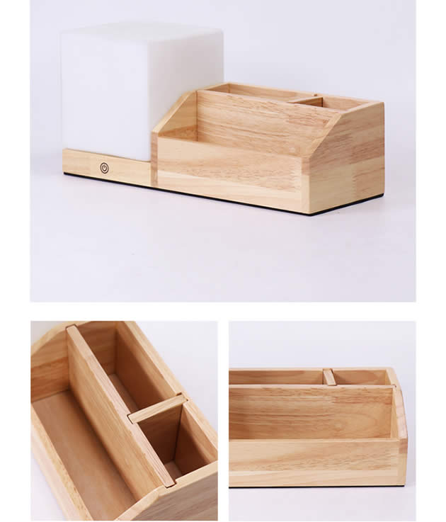 Creative Desktop Wooden Storage Box With Night Light Function