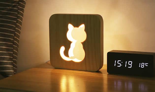 Cute Kitten Pattern Wooden Night Light