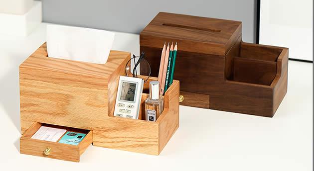 Multifunctional Wooden Desktop Organizer Storage Box Tissue Box