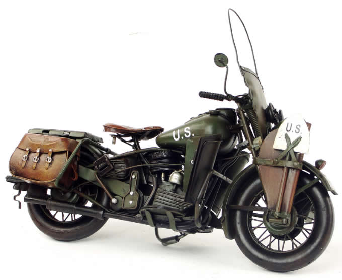 Handmade Antique Model Kit Motorcycle- 1942 Harley-Davidson