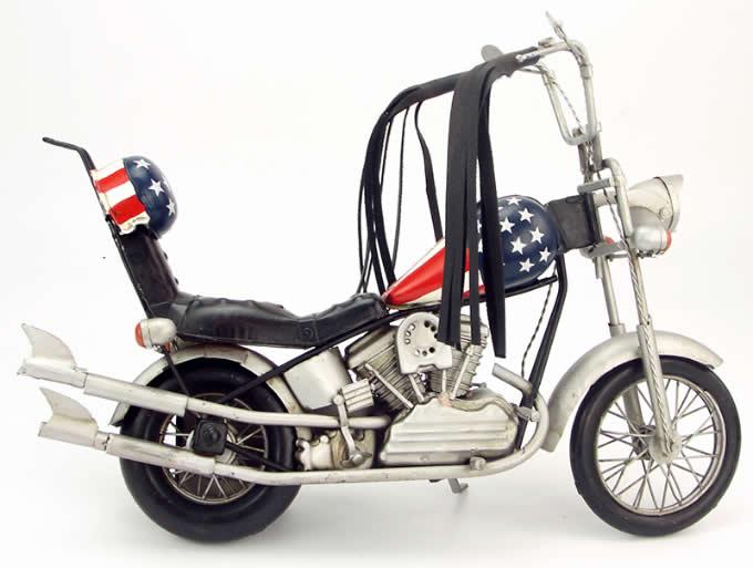 Handmade Antique Model Kit Motorcycle-1969 Harley National Flag Motorcycle